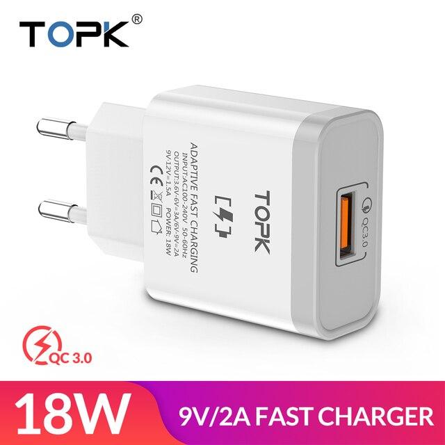 TOPK B126Q 18 W carga rápida 3,0 cargador de teléfono móvil rápido enchufe de la UE adaptador de cargador de pared USB para iPhone Samsung xiaomi Huawei