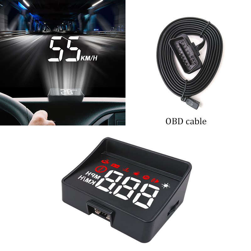 GEYIREN Car hud a100s obd hud display windshield projector temperature hud display car car electronics Overspeed Warning System-in Head-up Display from Automobiles & Motorcycles