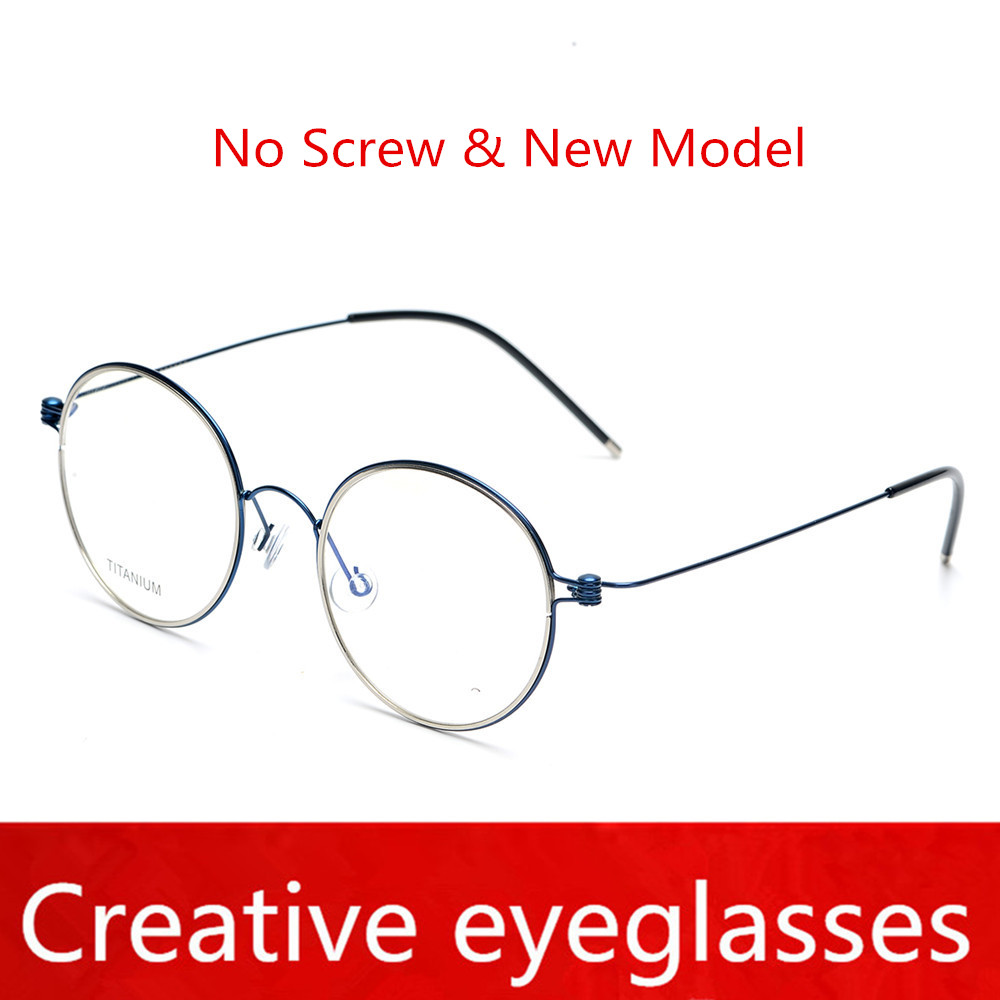 New model retro round Screwless Pure hand-made titanium frame for unisex Oculos myopia prescription eyewear original package