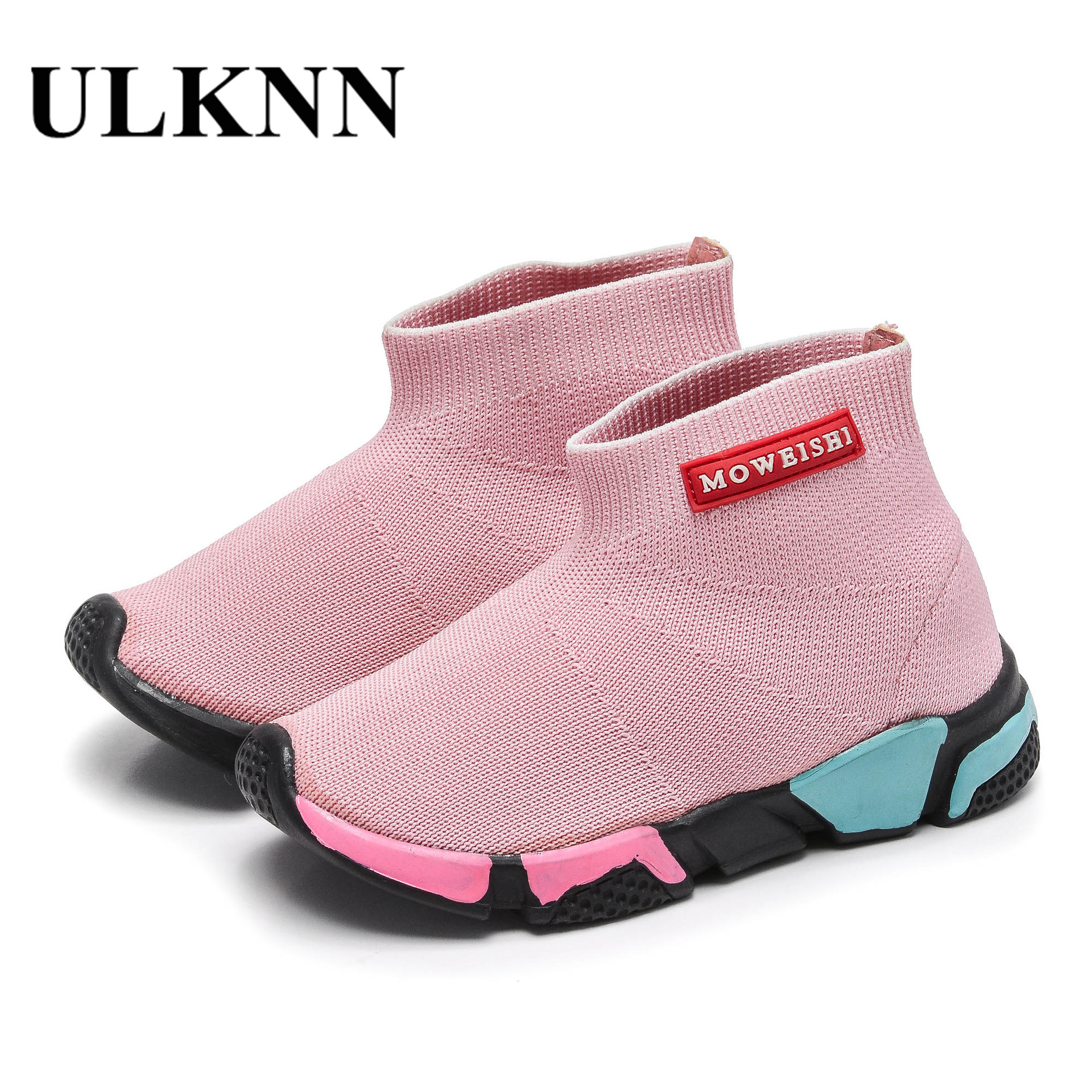 ULKNN New 2018 Shoes Kids High Top Sneakers Children Knitted Socks Sneakers Breathable Sport Girls Shoes Boys Tennis Casual Shoe
