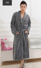 2017 zima jesień grube flanelowe męskie damskie szlafroki Gentlemens homewear męskie spodnie piżamy Pidżama tanie tanio Mężczyzn Robes długi Seeve P1308 Poliester full sleeve Flaneli Serek ChiBooGo (Polski) Stałe