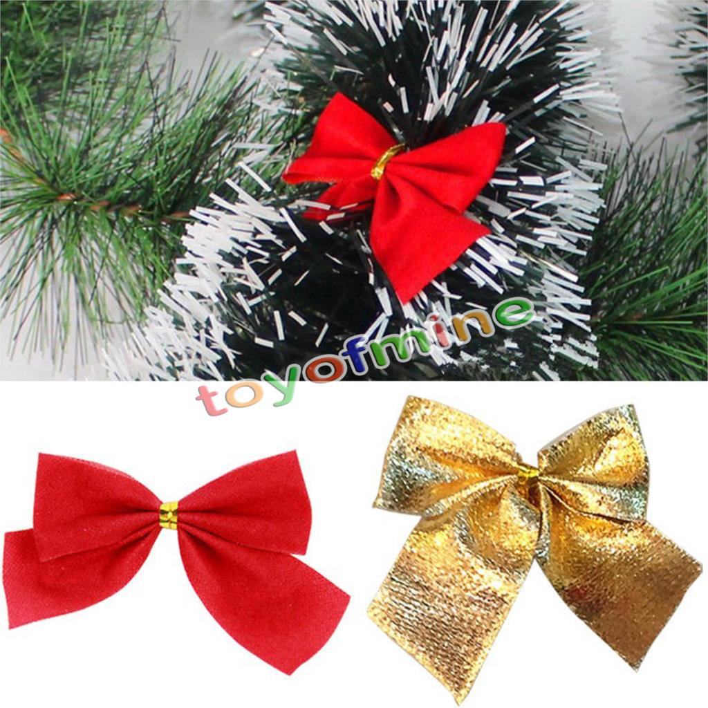 12x Bow Christmas Tree Hanging Ornament Bowknot Party Home