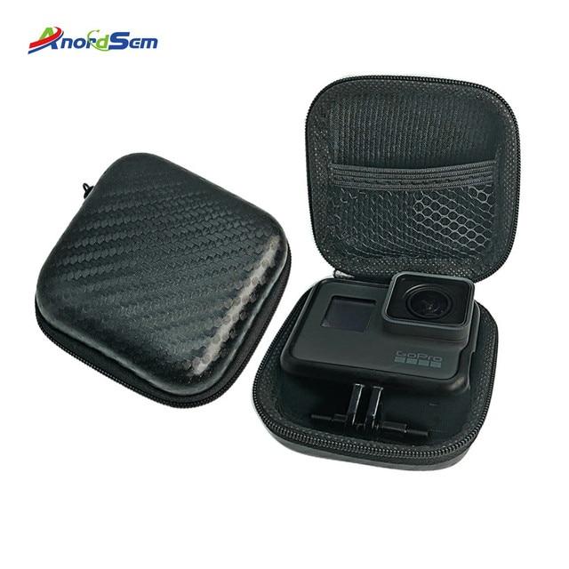 Anordsem Mini Storage Bag Carrying Case Box For Go Pro Hero 8 6/5 Sport Camera Shockproof Design Supports For Gopro Hero7 Yi4k