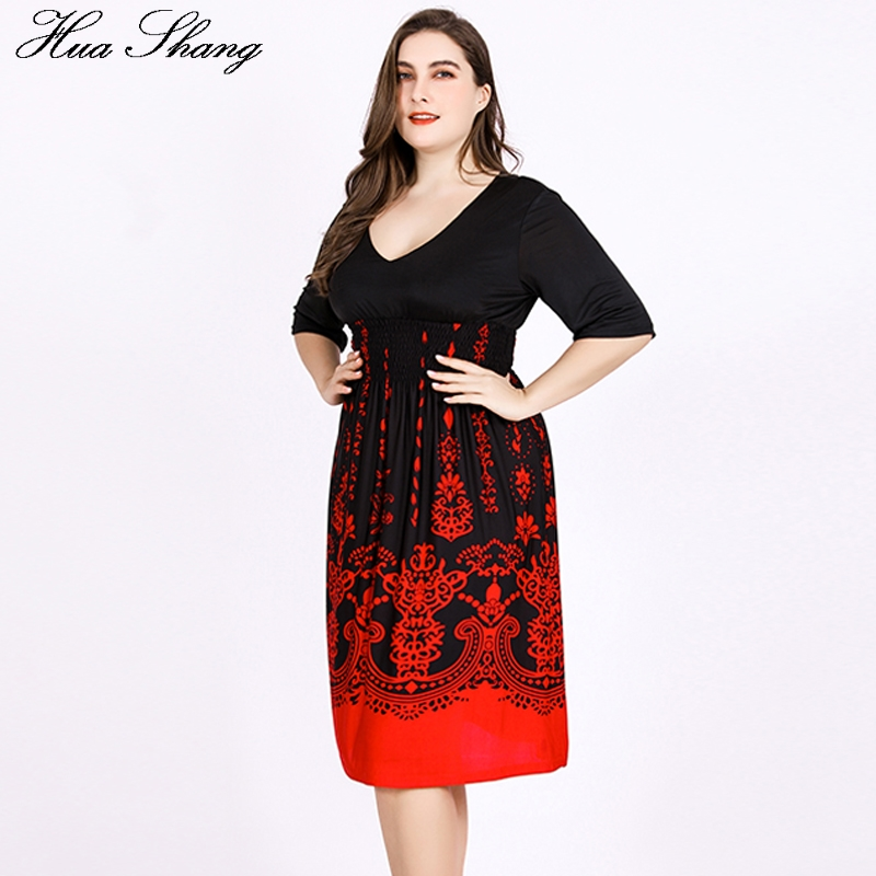 Women Dresses Plus Size 5xl 6xl Summer Ladies V Neck Half Sleeve
