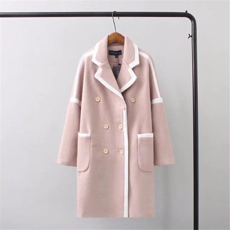 Et Patchwork Dames Rose Veste De Casual Manteaux Taille D'hiver blanc Laine Breasted Large Manteau À Longue Double nqxwz6PZq