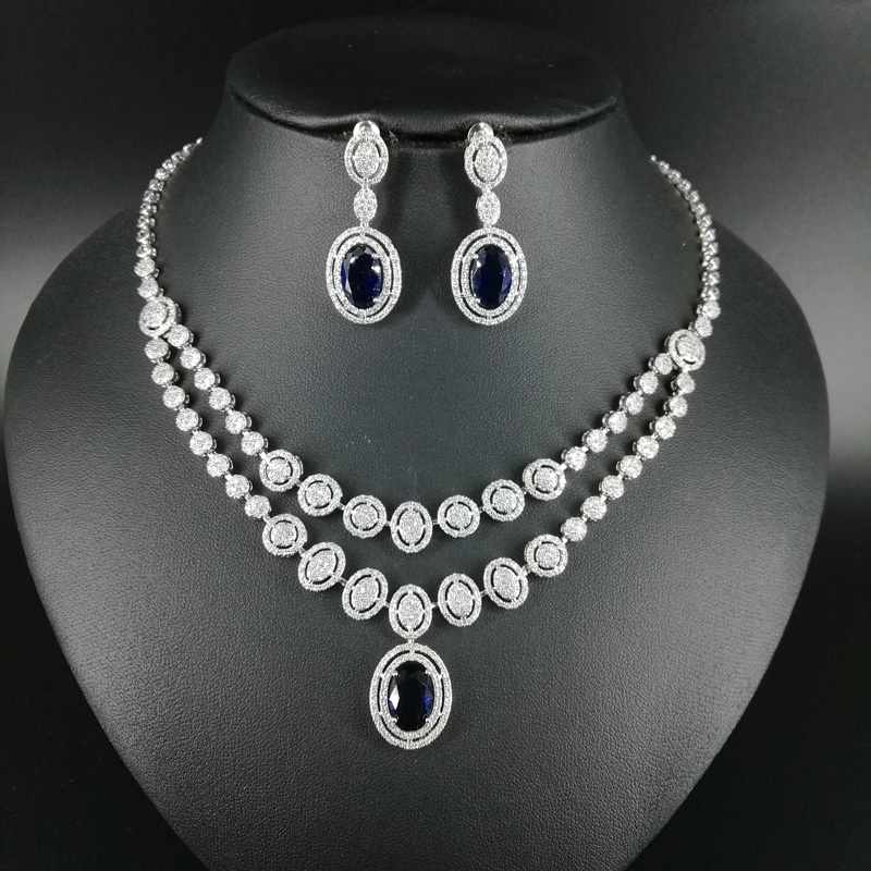 цена на 2018 NEW fashion double layer retro blue water drop zircon necklace earring set,wedding bride banquet dress dinner jewelry set