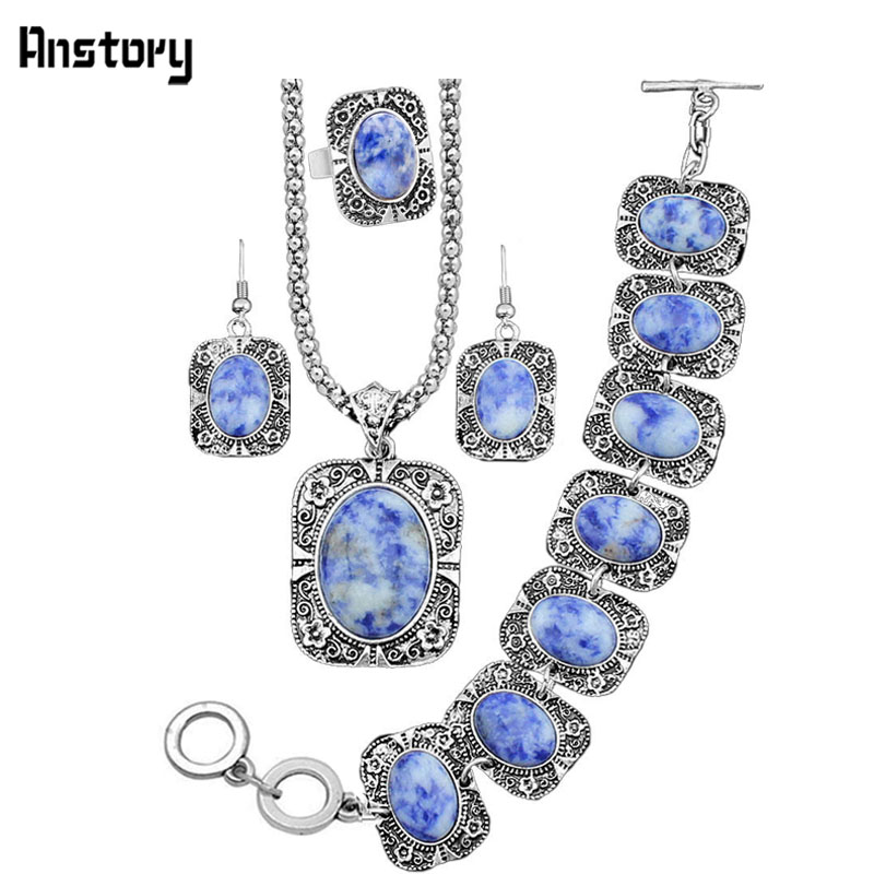 Pebble Stone Jewelry Set Necklace Bracelet Earrings Ring For Women Flower Pendant Vintage Look Fashion Jewelry