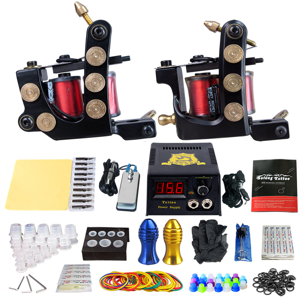 Complete Tattoo Machine Kit Set 2 Coils Guns Sets Grips Body Arts Supplies Needles Tips Tattoo Beginner Kits TK202-26 usa dispatch complete beginner tattoo kit 3 machines guns lcd power needles tips grips set equipment supplies