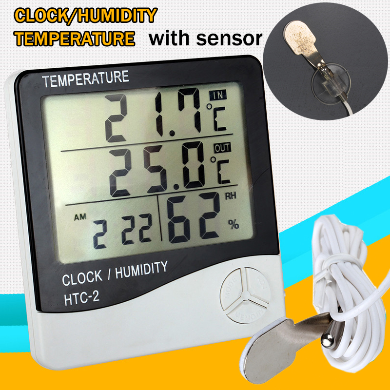 HTC-2 Weather Station Digital LCD Temperature Humidity Meter Indoor/Outdoor Room Thermometer Clock Hygrometer with sensor ac11 4x watercolor style gradient erasable gel pen writing signing pen school office supply stationery student gift rewarding