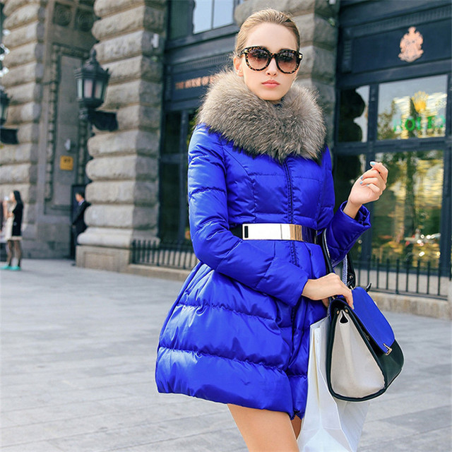 Down coat 2018 Doudoune femme New Luxury Fur Collar Womens down jacket Black/Red/Blue  Size S-XXL  Winter coat women 4