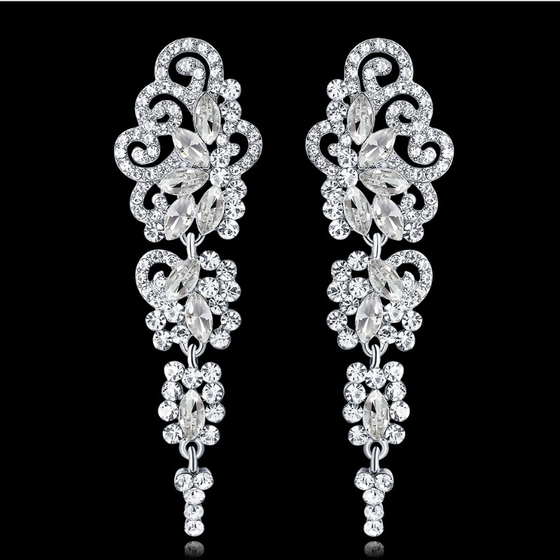 Muylinda Silver Colors Crystal Wedding Drop Earrings For Women Korean Fashion Rhinestone Bridal Long Earrings Jewelry