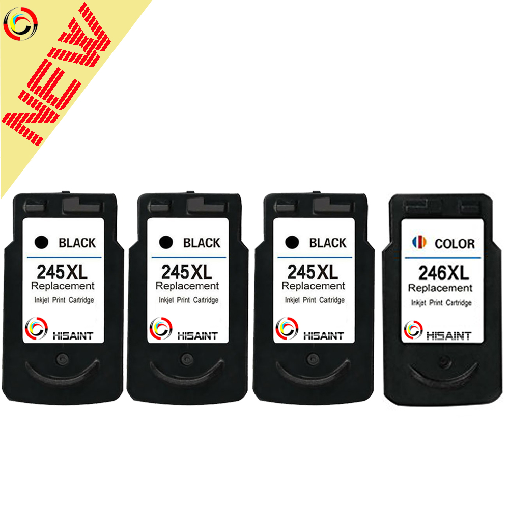 ФОТО HISAINT 4PK Compatible for Canon 245 246 PG245XL CL246XL Ink Cartridge For MG2450 MG2520 MG2550MG2920 Inkjet Printer Hot Sale