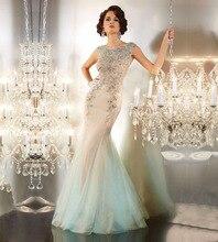 2016 luxuriöse Kristall Perlen Tüll Illusion Zurück Lange Meerjungfrau Abendkleider Nach Maß Vestidos de Noite