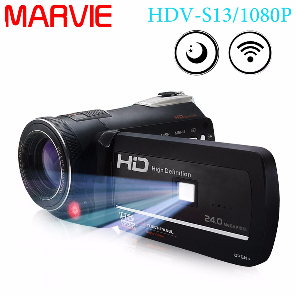 Marvie HDV-S13 1080P FHD Camcorder Wifi Digital Video DV Camera IR Night Shot Vision 3 Touch Screen LED Light Full HD 1080P Cam