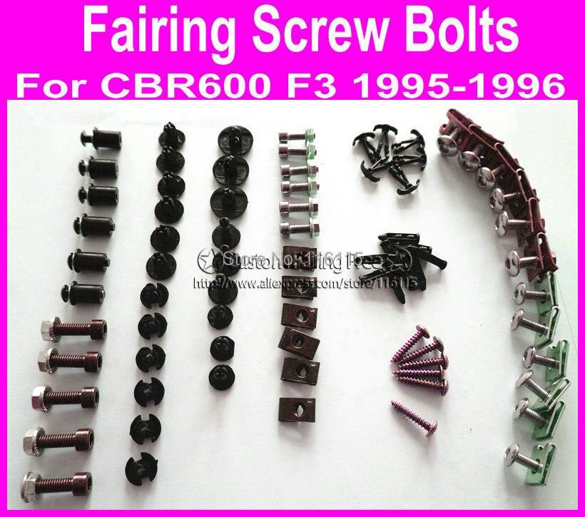 New Motorcycle Fairings screw bolt kit for HONDA CBR 600 F3 1995 1996 CBR600 F3 95 96 black fairing dag screws,coupling bolt set