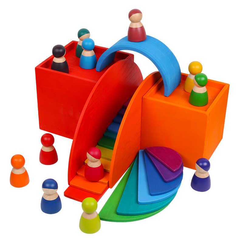 لعب اطفال ورضيع كبيرة قوس قزح مكدس ألعاب خشبية للأطفال الإبداعية قوس قزح اللبنات مونتيسوري التعليمية لعبة الأطفال
