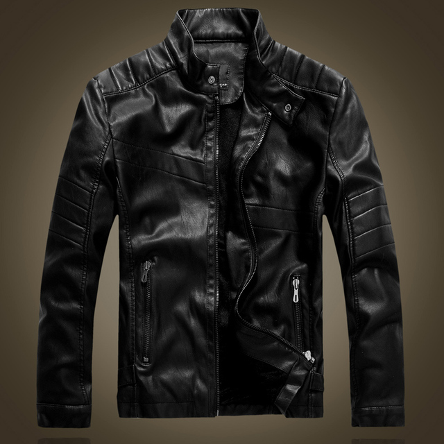 autumn and winter leather jacket mens plus velvet warm PU leather jacket male motorcycle jackets black and brown outerwear 8877