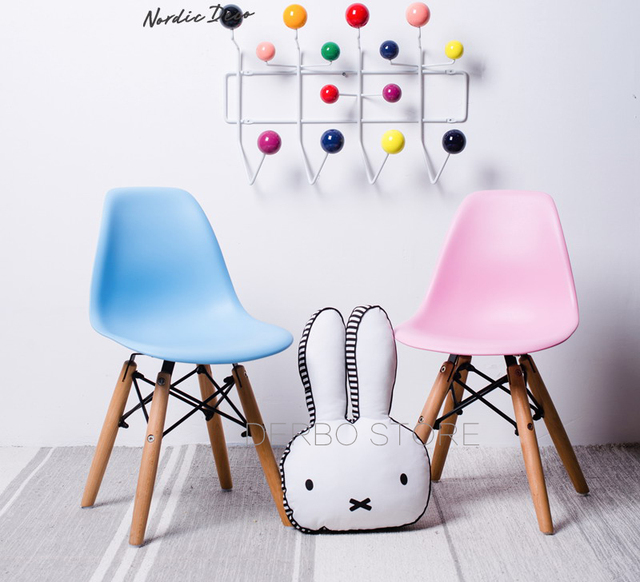 Classic Modern Design Kids Plastic Children Chair Wood Leg Baby Chair Stool  Famous Solid Wooden Base