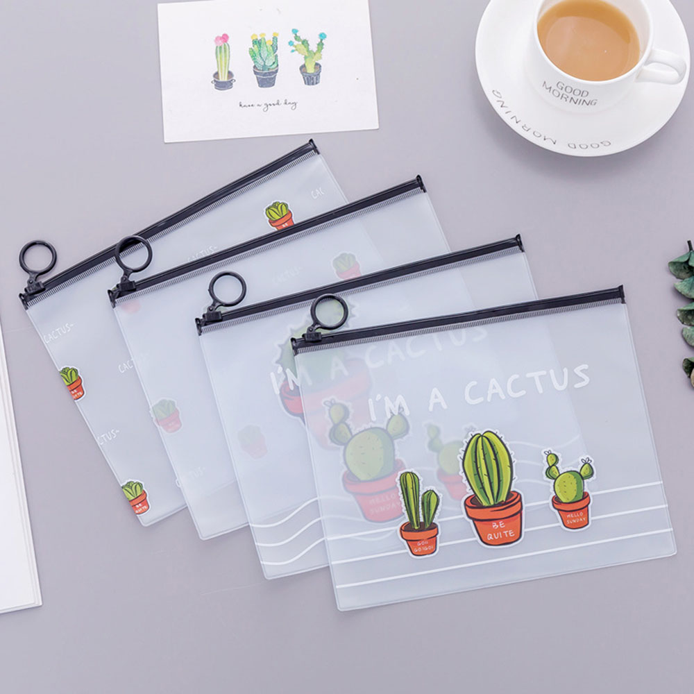 1pc Cactus PVC Waterproof Pencil Cases Transparent Stationery A5 File Folder Storage Office School Supplies Pencil Bags For Girl