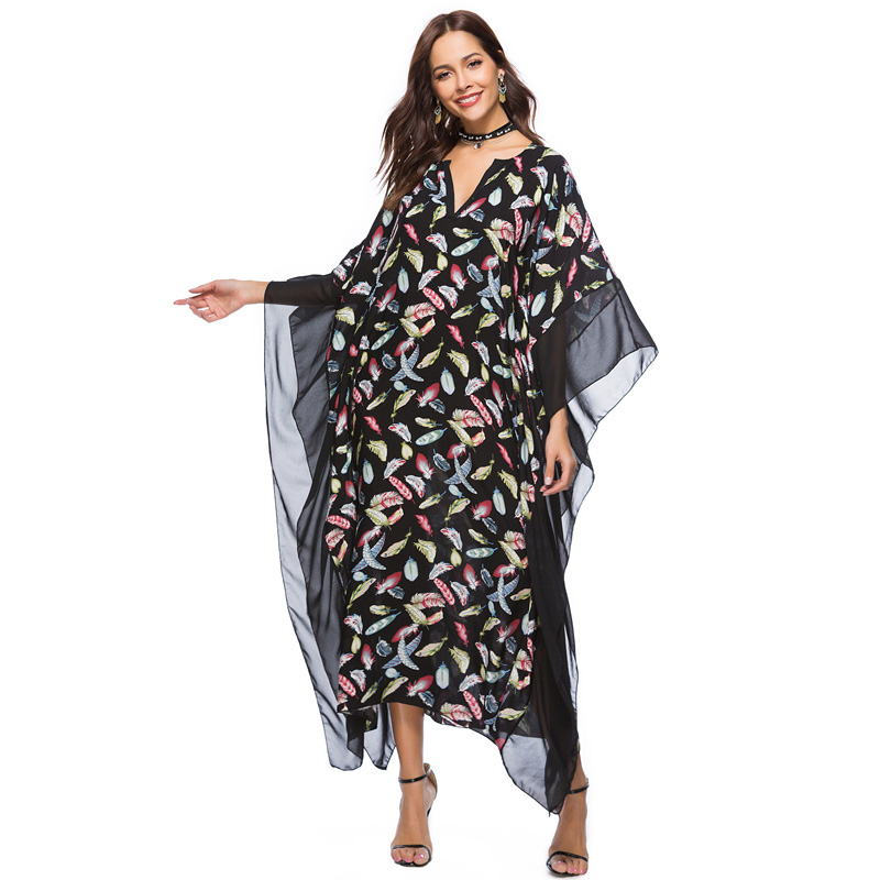 US $15.21 22% OFF|Plus size boho dress women clothing 2018 summer sundress  vintage floral print Batwing long sleeve maxi beach dress large size-in ...