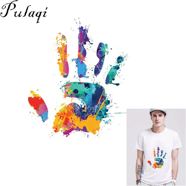 Pulaqi hands Printed Patches Heat Transfers Patch For Clothing T-shirt  Dress Sweater DIY Accessory b23c14cb4ea1