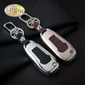Car Styling Zinc Alloy Key Chain Clip Ring With Genuine Leather Key Holder Bag Cover Case For Ford Mondeo 2013 2014 2015 2016
