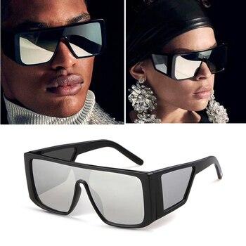 d7b1df2b34 Tamaño cuadrado gafas de sol hombres mujeres 2019 de la marca de lujo  Vintage gafas de sol hombre máscara completa Gafas escudo negro gafas de sol