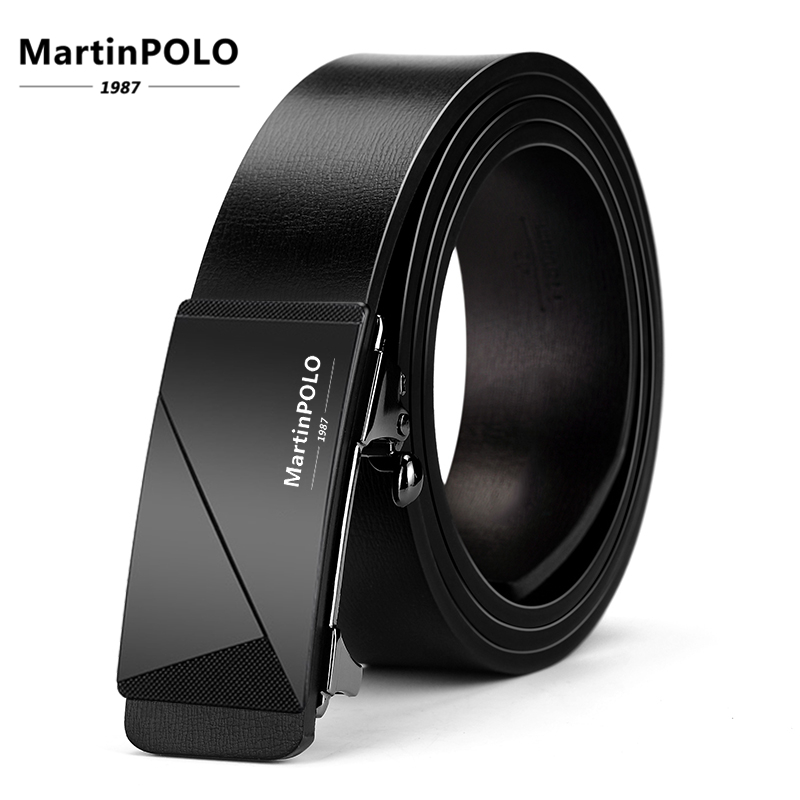 MartinPOLO Mens Belt Genuine Leather Men Designer Automatic Buckle Male Cow Cinturones Para Hombre MP01401P