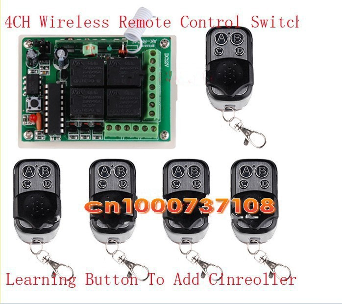 ФОТО DC12V 10A 4 ch rf wireless lamp led control 433.92mhz eletric motor home automation control switch RF wireless remote