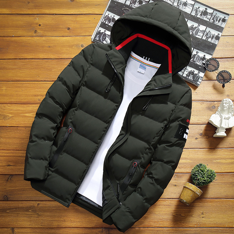 2019 Fashion Slim Warm Hooded Cotton Clothing Winter Men's Solid Color Short Jacket  Large Size Casual Youth Down Jacket S-5XL