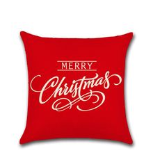 4 Pcs Merry Christmas Cotton Linen Square Decorative Throw Pillow Case Cushion Cover