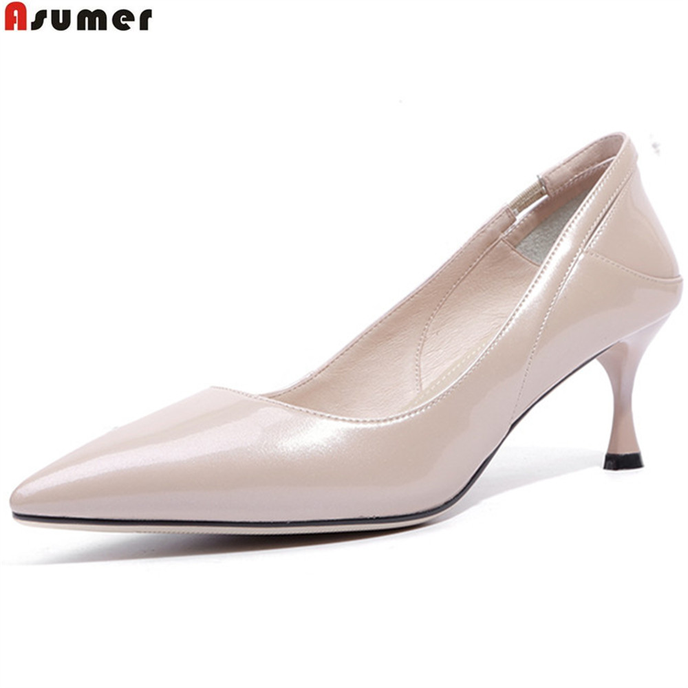 ASUMER black wine red fashion spring autumn shoes woman pointed toe shallow elegant women wedding high heels shoes creativesugar elegant pointed toe woman