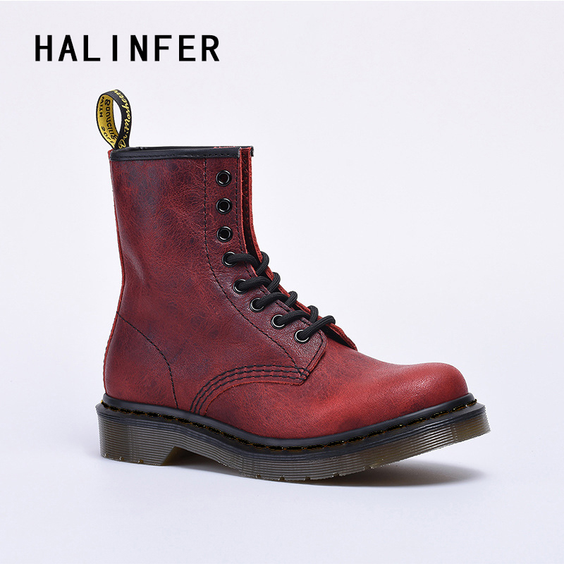 HALINFER martin boots for women genuine leather Cracking fashion red platform Handmade ladies ankle boots