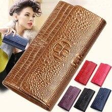 2017 New Fashion Genuine Leather Wallet Women s Clutch bag Brand Luxury Crocodile Pattern Long Wallet