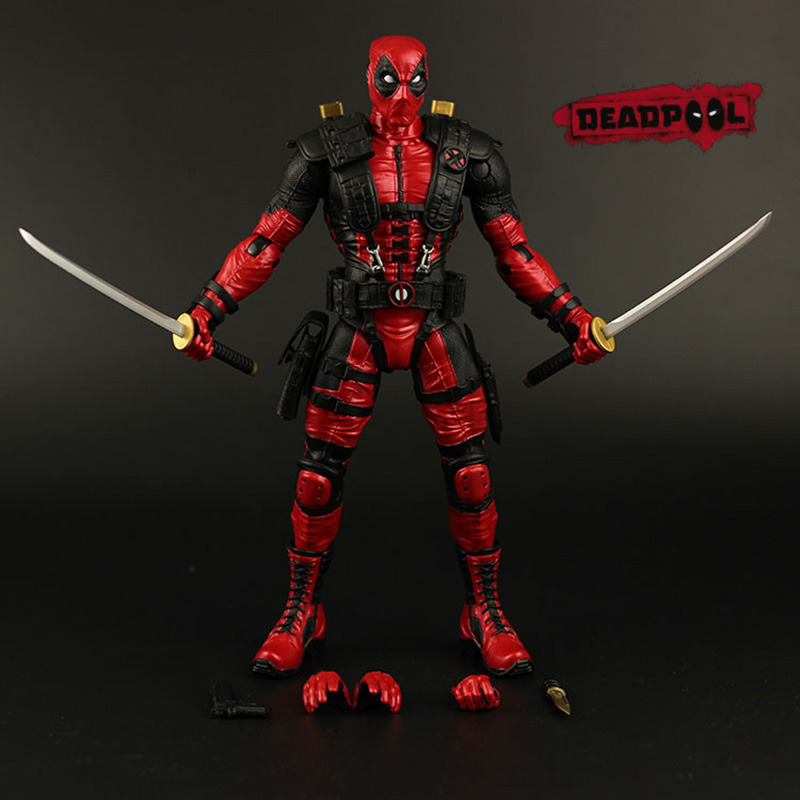 Red In Stock 10 25cm The Avengers Super Hero Justice league X-MAN Deadpool Action Figure Toys Collection Model With Retail Box new hot 15cm avengers spiderman super hero spider man homecoming action figure toys doll collection christmas gift with box
