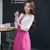 New 2017 Spring Solid Color Blocked Slim Fit Ol Office Dress Women Dress Woman Business Blazer