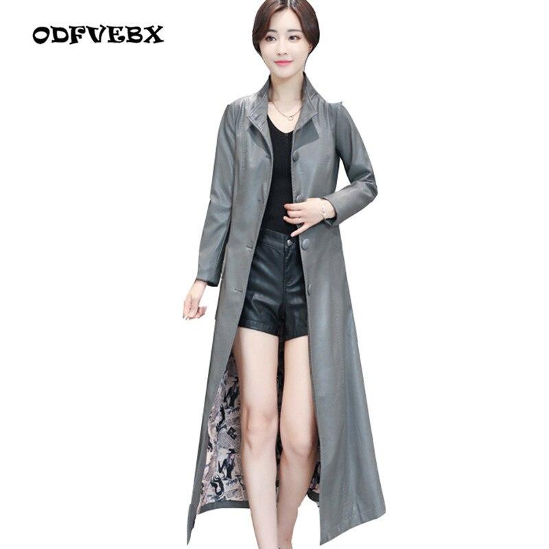 Brand leather leather Female long coat 2019 spring autumn new fashion plus size M-5XL Slim sheepskin windbreaker jacket women