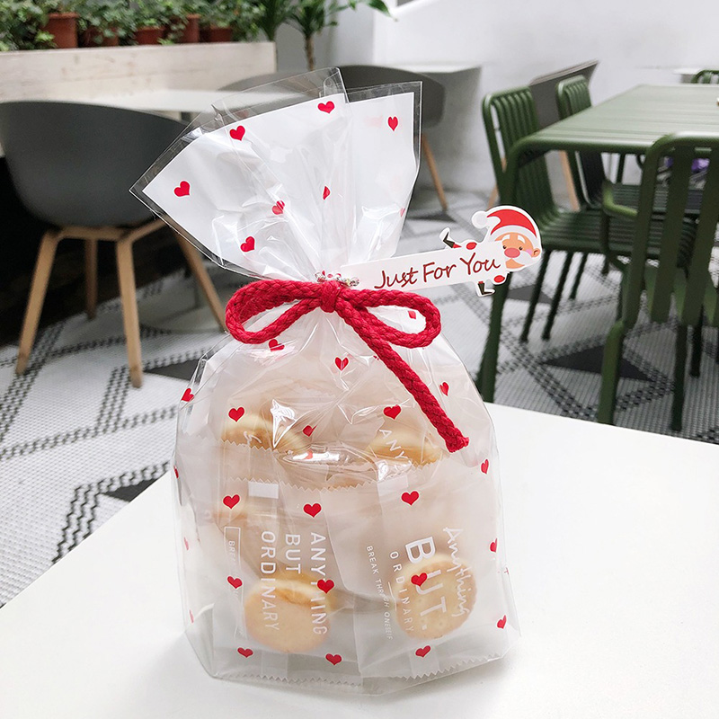 Gift Bags 50Pcs Flat Pocket Plastic Cookie Packaging Bag 15*24cm Wedding Party Heart Biscuits Bag Holiday Decoration Supplies