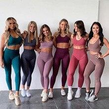 Naadloze Gym Set Nylon Vrouw Sportkleding 2 Stuk Oefening Leggings Padded Sport Bras Vrouwen Fitness Slijtage Yoga Sets Sport Past L