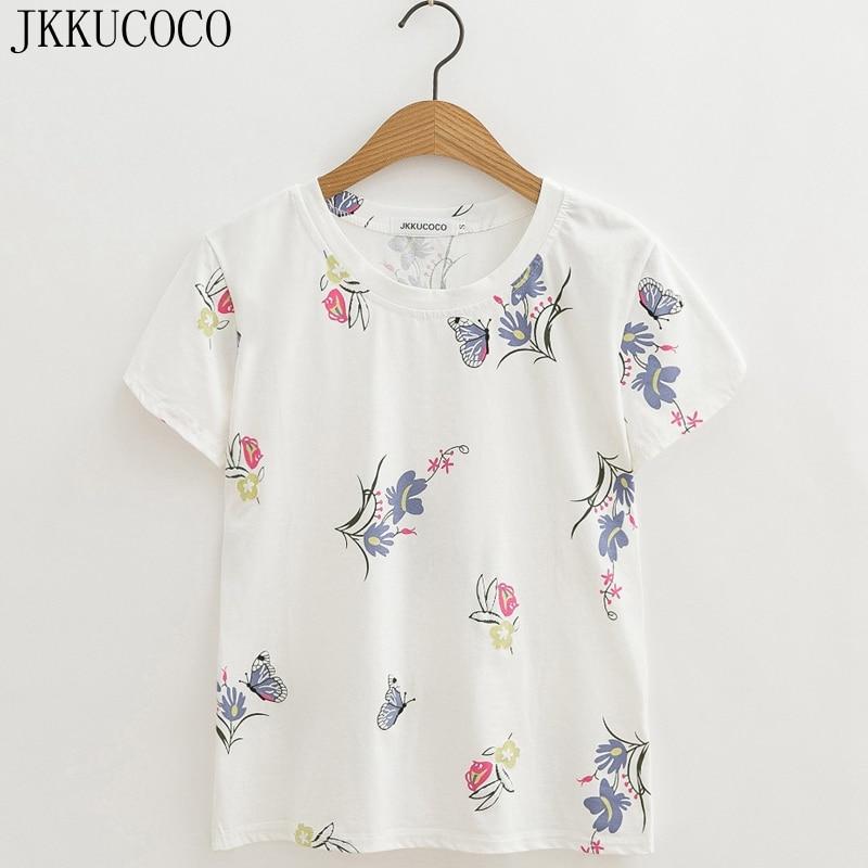 JKKUCOCO Newest Women tops Flowers Butterfly Print t shirt short sleeve o neck Casual T shirt