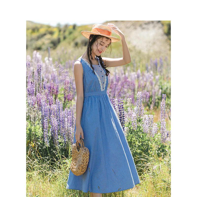INMAN/2019 Новое поступление, летнее кружевное клетчатое платье без рукавов, подчеркивающий талию, в Вертикальную Полоску, женское платье