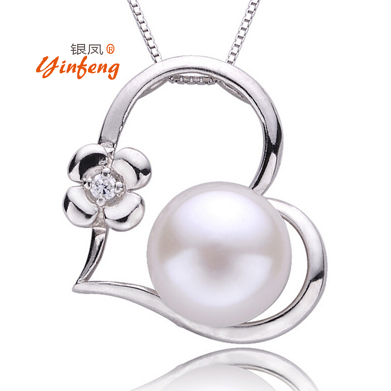 [MeiBaPJ]Lowest Price Personality Love Heart Pendant Necklace Mosaic AAA Zircon Jewelry Real Freshwater Pearl Charm Accessaries