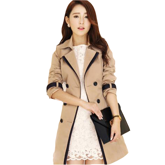 new spring autumn overcoats 2016 women's trench coats long sleeve fashion turn-down collar overwear clothing plus size 2 color