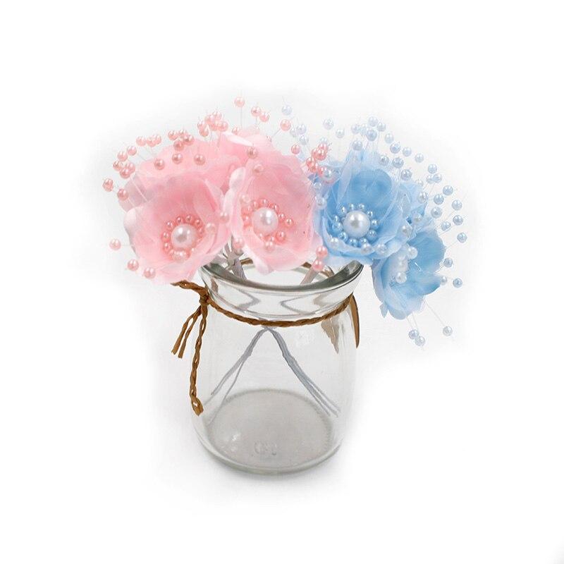 6 шт./лот 3,5 см искусственный цветок шелк Pearl Cherry Blossom Букет Свадебные украшения дома DIY ВЕНОК записки подарочная коробка