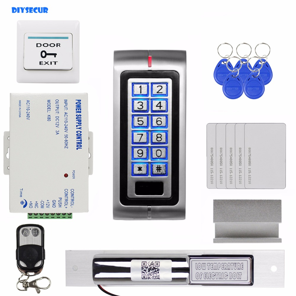 DIYSECUR RFID 125KHz ID Card Password Reader Access Control Security System + Electric Bolt Lock with Door Clamp+ Remote Control outdoor mf 13 56mhz weigand 26 door access control rfid card reader with two led lights
