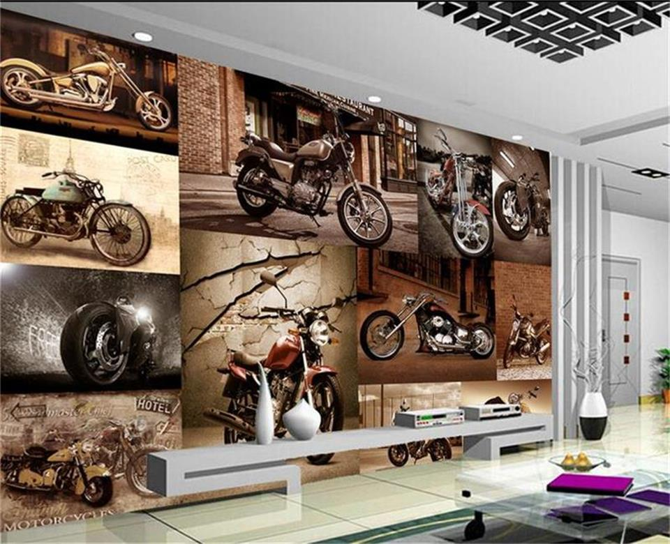 custom 3d photo wallpaper living room mural European retro motorcycle 3d painting KTV background non-woven wallpaper for wall 3d free shipping european corridor wall painting background wallpaper hawaii non woven wallpaper mural