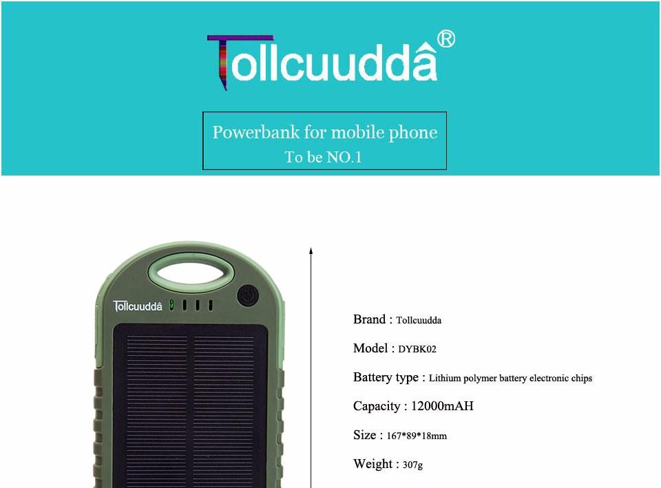 Tollcuudda Solar Panel Power Bank 100mAH Battery External Celular Charger Cargador For Xiao Mi universal Phone Solar PoverBank 16