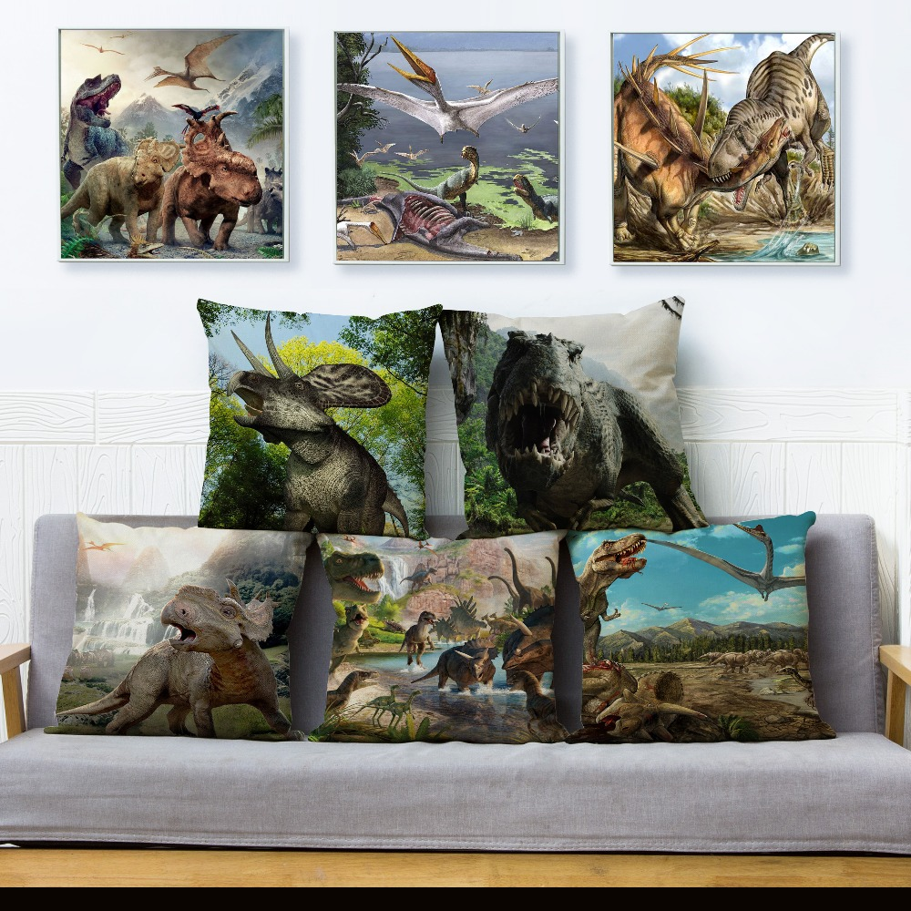 Cartoon Jurassic Animal Dinosaur Pattern Linen Cushion Cover 45*45cm Car Pillow Case Sofa Living Room Printed Pillowcases