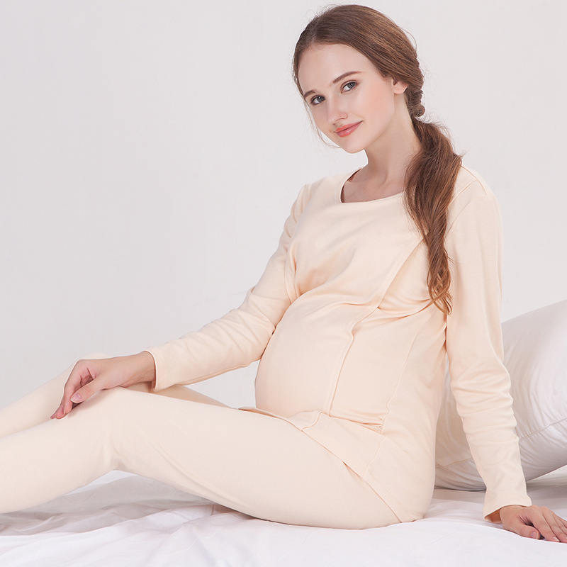 2018 Maternity Breastfeeding Sleepwear Nursing Pajamas Set Long Sleeve Loose Clothes For Pregnant Women Cotton