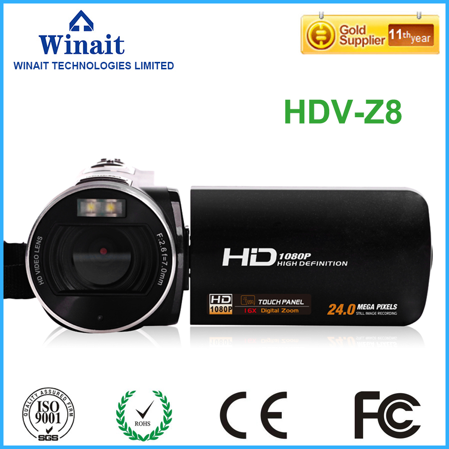 цены Freeshipping home use digital video camera HDV-Z8 16X digital zoom lithium battery 32GB memory built-in microphone HDV camcorder